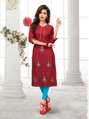 Maroon hand woven cotton party-wear-kurtis