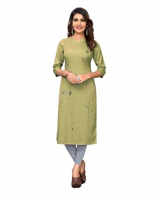 Light-green embroidered rayon party-wear-kurtis
