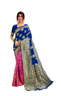 Pink embroidered cotton poly saree with blouse