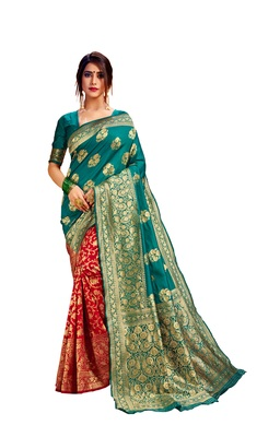 Red embroidered cotton poly saree with blouse
