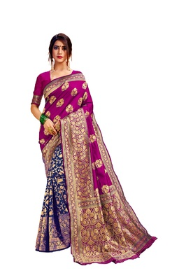 Blue embroidered cotton poly saree with blouse