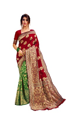 Green embroidered cotton poly saree with blouse
