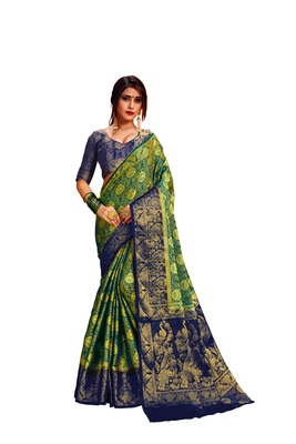Green embroidered nylon saree with blouse