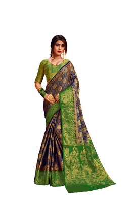 Navy blue embroidered nylon saree with blouse