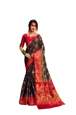 Red embroidered nylon saree with blouse