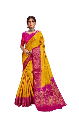 Yellow embroidered nylon saree with blouse