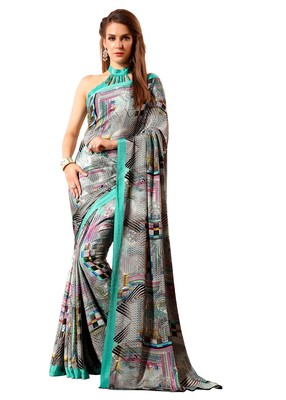 turquoise printed crepe saree with blouse