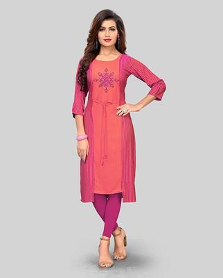 Light-orange embroidered rayon party-wear-kurtis
