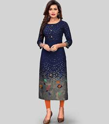 Navy-blue printed rayon party-wear-kurtis