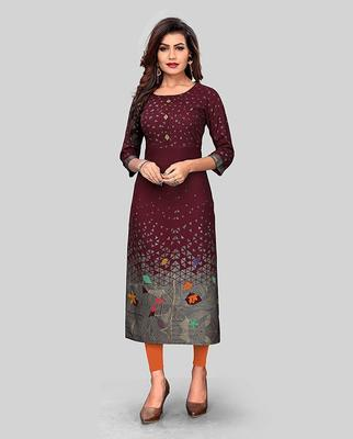 Maroon printed rayon party-wear-kurtis