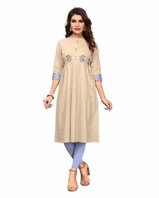 Off-white embroidered cotton party-wear-kurtis