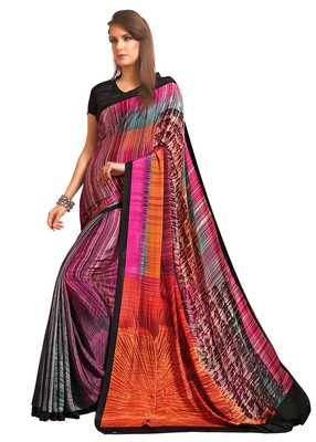 Pink printed crepe saree with blouse