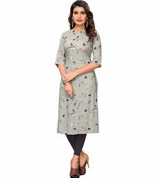 Grey printed rayon party-wear-kurtis