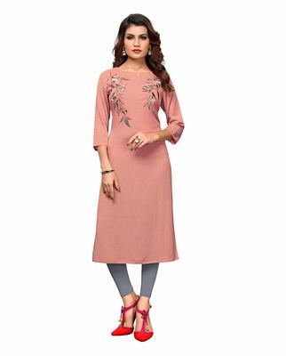 Pink embroidered rayon party-wear-kurtis