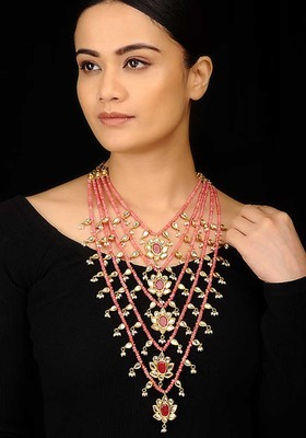 Rose Quartz And Ruby Red Panchlada Rani Haar Necklace