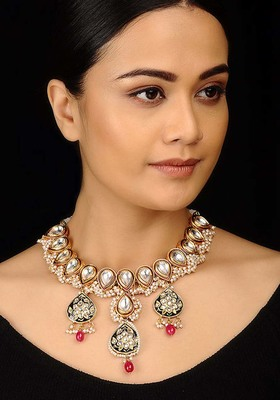 Polki And Pearls Cluster Necklace