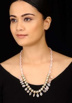 Kundan And Rose Quartz Necklace