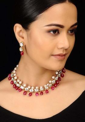 Kundana Nd Red Stones Choker Necklace Set
