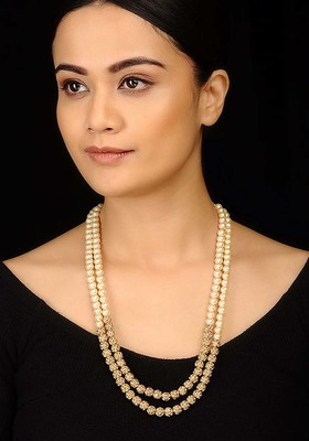 Pearls and Jadau Gold Plated Necklace