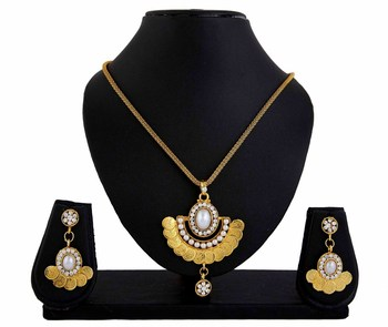 Pearl Goddess Laxmi Coin Pendant Earrings Set