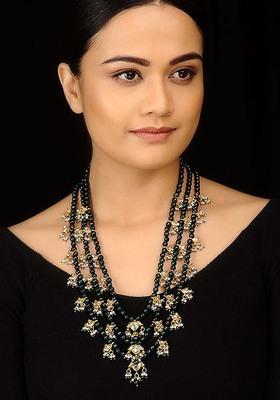 Kundan and Green Onyx Teenlada Rani Haar Necklace