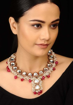 Polki And Pearl Cluster Necklace