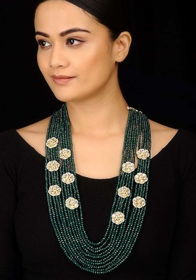 Kundan And Green Stones Layered Necklace