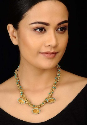 Gold Beads And Turquoise Jhumki Necklace