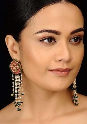 Red and Green Punjabi Jadau Earrings