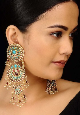 Turquoise And Red Long Chandbali Earrings