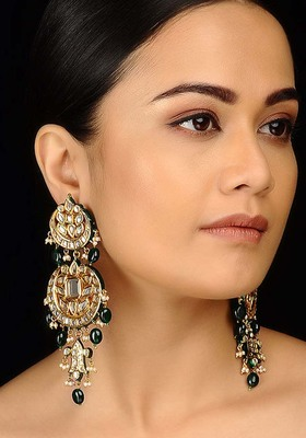 Kundana Nd Green Stones Chandbali Earrings