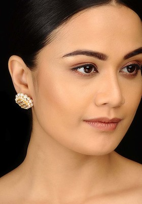 Kundan and Pearls Gold Plated Studs