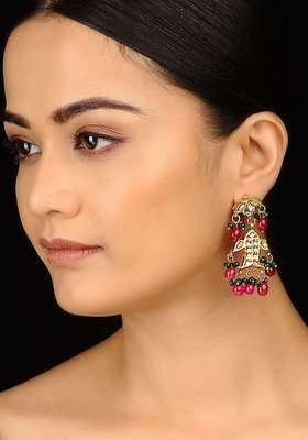 Red and Green Kundan Earrings