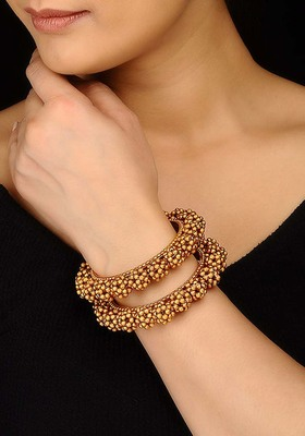 Gold Plated Temple Work Floral Bangles