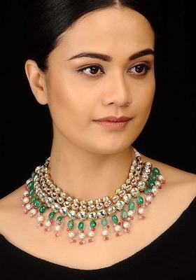 Kundan  Red And Green Choker Necklace Set