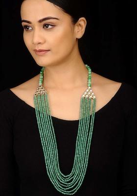 Kundan And Green Jade Long Necklace