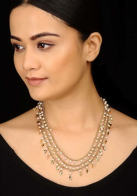 Pearls And Peepal Patti Strings Necklace
