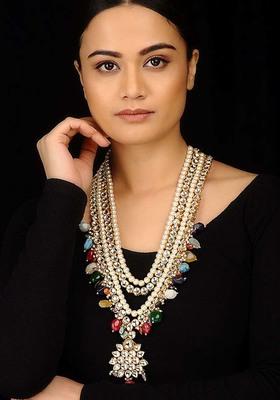 Kundana nd Multicoloured Stones Long necklace
