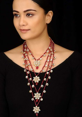 Kundan And Red Stones Rani Haar Necklace