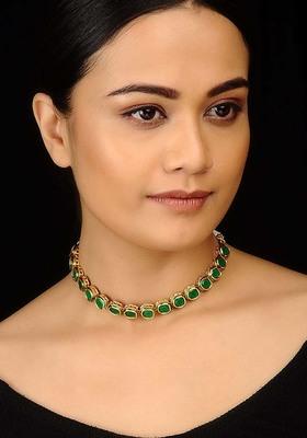 Green Kundan Delicate Choker Necklace