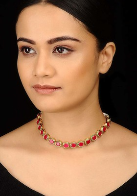 Red Kundan Delicate Choker Necklace