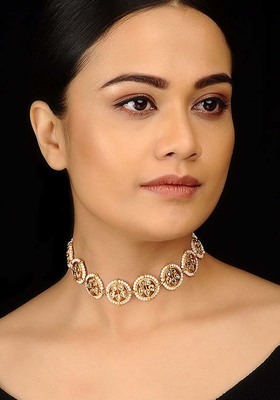 Floral Kundan and Pearls Choker Necklace