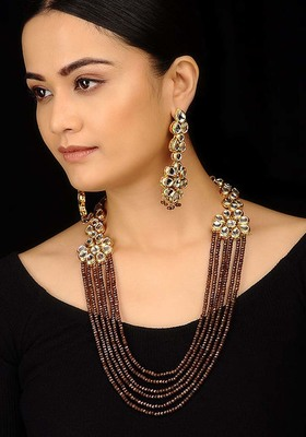 Brown Stones And Kundan Long Necklace Set