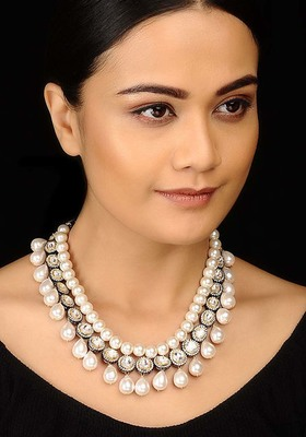 Victorian Polki and Baroque Pearls Necklace