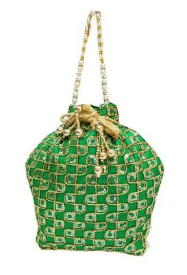 Shree Shyam Products Silk Ethnic Potli With Metal Bead and Jari Work (Green)