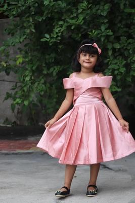 kids pink satin gown set
