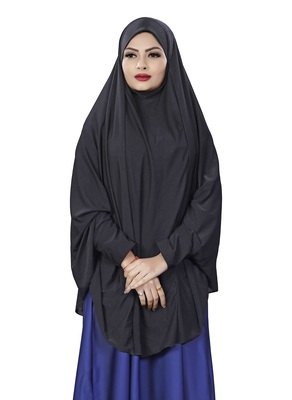 Justkartit Black Plain Lycra Stretchable Stitched Islamic Namaz Chaderi Hijab With Veil And Sleeves