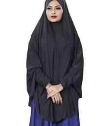 Justkartit Black Plain Lycra Stretchable Stitched Islamic Namaz Chaderi Hijab With Veil And Sleeves