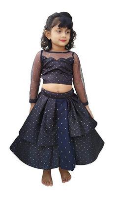 black multi dots fabric chaniya choli