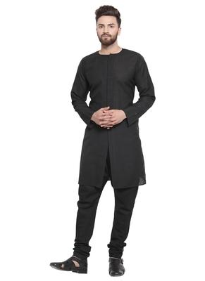Black Linen Plain Kurta Pajama